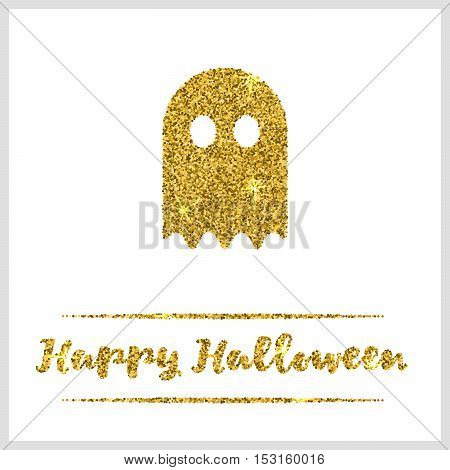 Halloween gold textured ghost icon on white background. Golden design element for festive banner, greeting and invitation card, flyer, tag, poster, postcard, advertisement. Vector illustration.