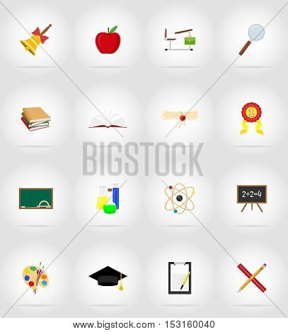 school education flat icons vector illustration isolated on background