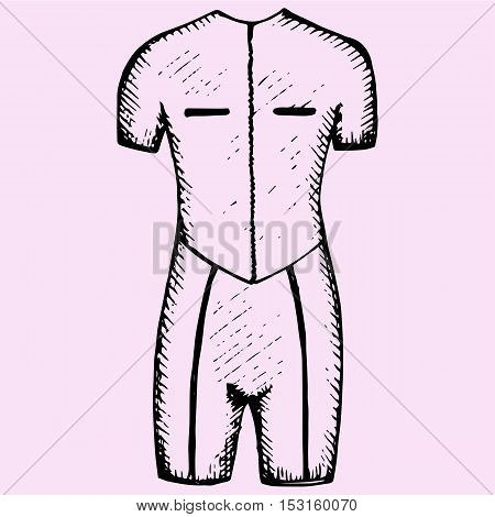 diving suite diving wetsuit doodle style sketch illustration hand drawn vector