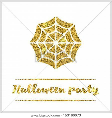 Halloween gold textured web icon on white background. Golden design element for festive banner, greeting and invitation card, flyer, tag, poster, postcard, advertisement. Vector illustration.