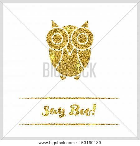Halloween gold textured owl icon on white background. Golden design element for festive banner, greeting and invitation card, flyer, tag, poster, postcard, advertisement. Vector illustration.