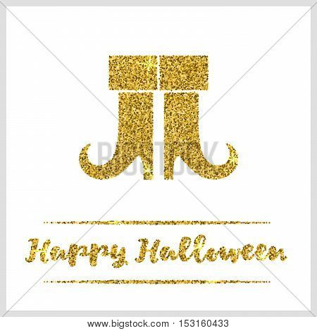 Halloween gold textured boots icon on white background. Golden design element for festive banner, greeting and invitation card, flyer, tag, poster, postcard, advertisement. Vector illustration.
