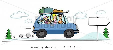 Parents and kids on holiday traveling with car in winter
