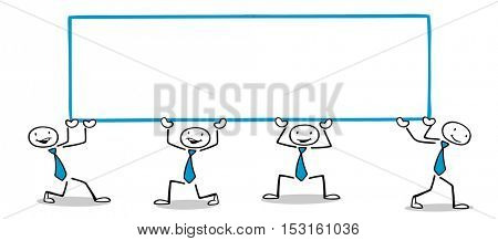 Cartoon business people carrying blank banner