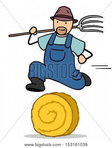 Fast cartoon farmer with pitchfork jumping on hay bale