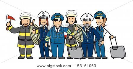 Group of cartoon people in uniform from different professions
