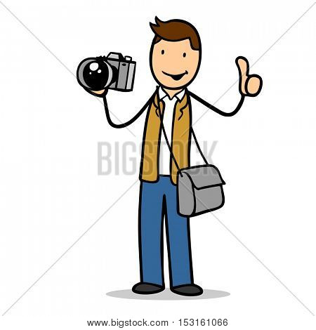 Cartoon successful photographer with thumbs up holding camera