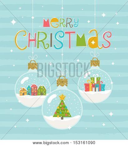 Christmas greeting illustration - three snow globe hanging baubles. Vector illustration.