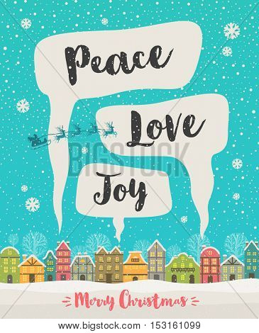 Winter town and Clouds of smoke with Christmas greeting. Christmas vector illustration.
