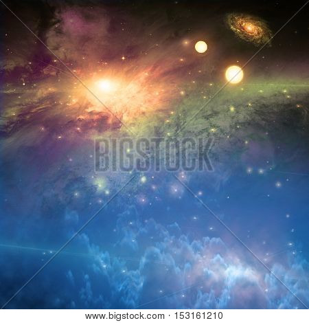Deep space scene 3D Render   Some elements provided courtesy of NASA