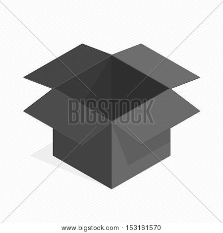 Vector image of black open box. Empty boxing on light background. Isometric transportation package.