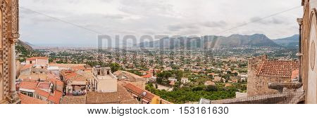 Panoramic view city of Palermo in Sicily Italy.