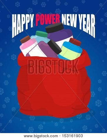 Happy Power New Year. Protein In Red Sack Of Santa Claus. Big Bag With Packages Of Sports Nutrition.