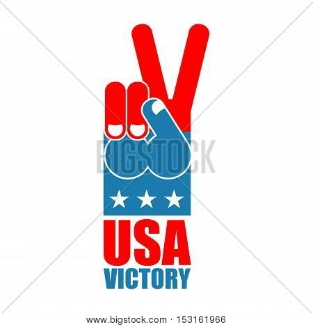 Finger Victory Usa. America Win Hand. Symbol Of Usa Patriot. American Sports Sign. Expression Of Emo