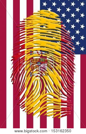 Spain USA Identity U.S. Flag with fingerprint with Spain Flag
