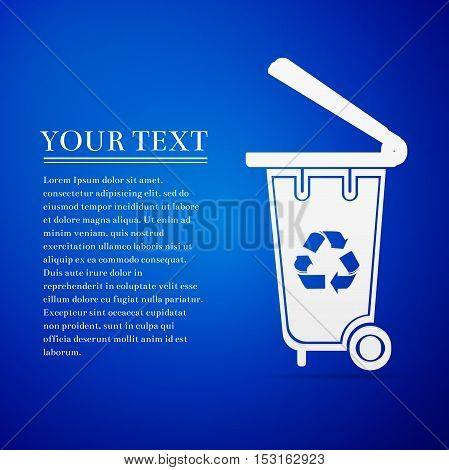Recycling bins flat icon on blue background. Vector Illustration