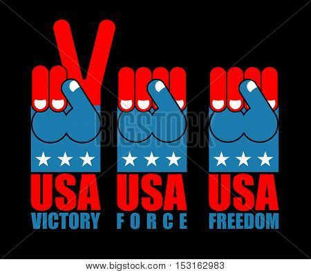 Usa Patriot Hand Set. American Force Fist. Us National Symbol. United States Freedom To Sign. Expres