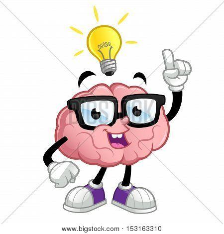 Funny brain cartoon character, he has an idea, vector
