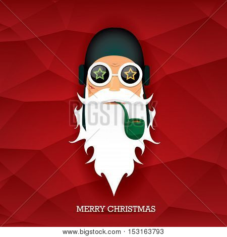 vector rock n roll santa claus with smoking pipe and funky beard. Christmas hipster poster background or merry christmas concept vector background.