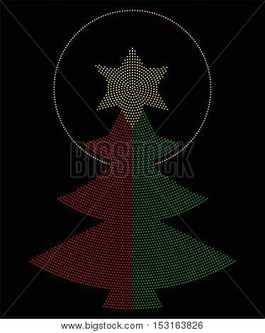 Christmas tree symbol radial dot pattern. Single tree in red and green color, a yellow six-pointed star on top with an halo. Single dots beginning from the center of the star. Illustration over black.
