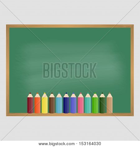 School blackboard and color pencils. Vector illustration