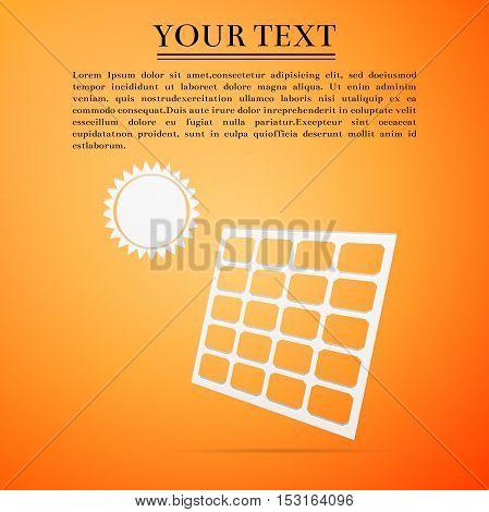 Solar energy panel flat icon on yellow background. Vector Illustration