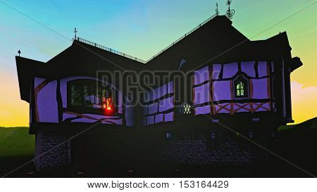 Haunted house with lightning at night 3d rendering