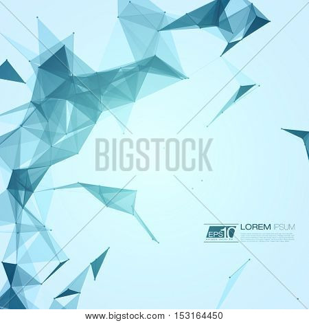 Abstract Polygonal Space Blue Background with Connecting Dots and Lines   EPS10 Vector Illustration