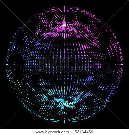 Colorful Sphere Illustration- Abstract Globe Grid on Black Background - Futuristic Vector Design