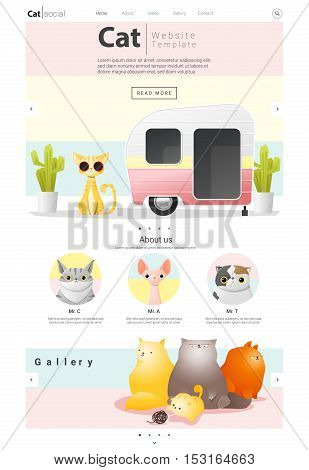 Animal website template  banner and infographic with Cat , vector , illustration