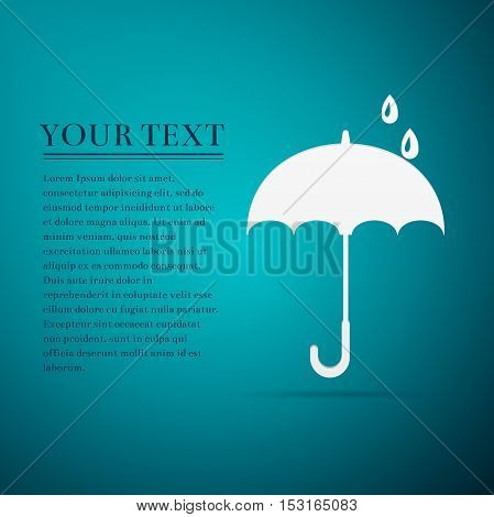Umbrella flat icon on blue background. Vector Illustration