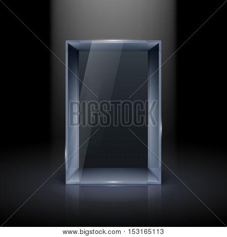 Empty Glass Showcase for Presentation with Spot Light on Black