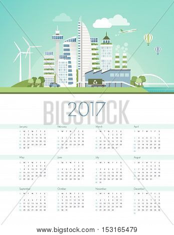 Green futuristic city skyline with wind turbines and solar panels ecology and sustainability calendar 2017