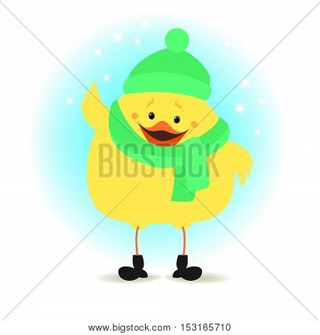 Chicken in winter clothes on the winter background. Christmas vector illustration