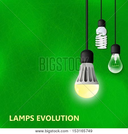 Hanging on cords 3 light bulbs with glowing one on a green background. LED lamp energy saving compact fluorescent lightbulb and Incandescent light bulb. lamps evolution. Green energy