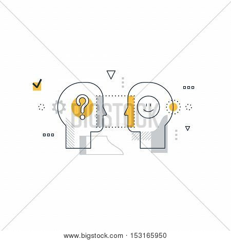 Psychology education concept, linear design illustration on white background
