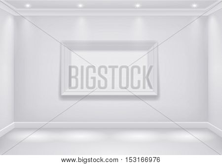 The interior of a white room with the lower lights and the big picture. Vector graphics