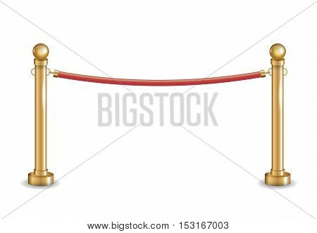 Golden fence barrier with golden bars and red cord. Vector graphics