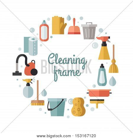 Cleaning flat multicolored vector circle frame. Modern minimal design.