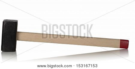 sledge hammer with wooden handle on white background