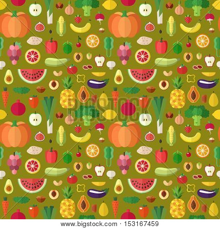 Vegetables fruits and nuts seamless vector pattern. Modern flat design.