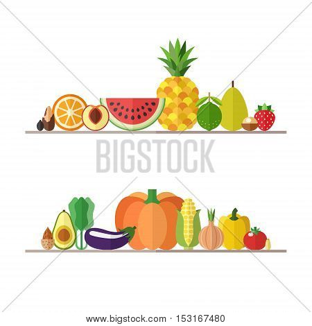 Vegetables fruits and nuts illustrations vector set. Modern flat design. Isolated objects. Part two.