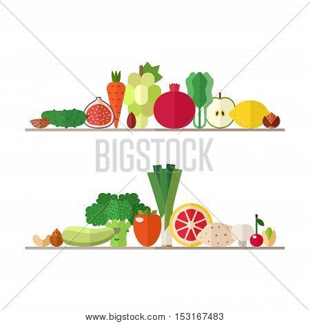 Vegetables fruits and nuts illustrations vector set. Modern flat design. Isolated objects. Part one.