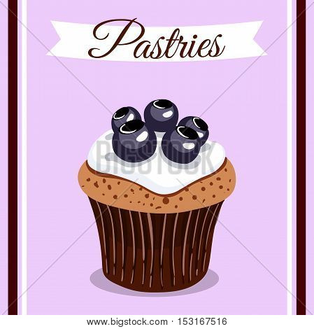 Hand drawn cupcake with blueberry and cream. Vector illustration. Can be used for design of bakery or for cafe.