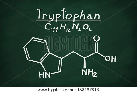 Structural model of Tryptophan on the blackboard.