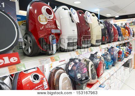 HONG KONG - CIRCA JANUARY, 2016: an electronic store at a shopping center in Hong Kong. Shopping is a widely popular social activity in Hong Kong.