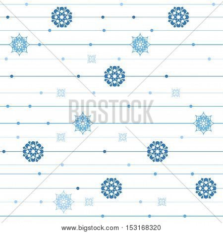 Vector seamless pattern. Graphic stripes with vertical direction. Repeating abstract background with circles and snowflakes
