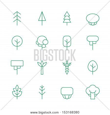 Trees outline green vector icons set. Clean and simple design.