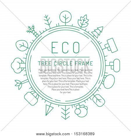 Trees outline green circle vector background. Clean and simple design.