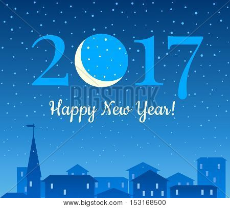 2017 New Years background with night city moon and snowfall